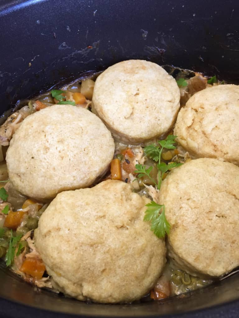 Slow Cooker Chicken Pot Pie from scratch with homemade biscuits