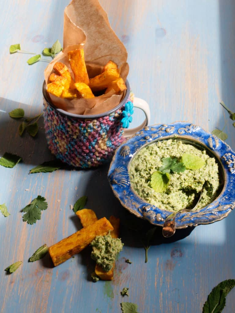 Golden Turmeric Fries with Coriander and Mint Fries