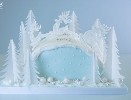 beautiful reindeer Christmas cake tutorial at Paul Bradford Sugarcraft School