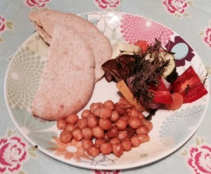 Roasted Vegetables served with Spiced Chick Peas and Pitta Bread