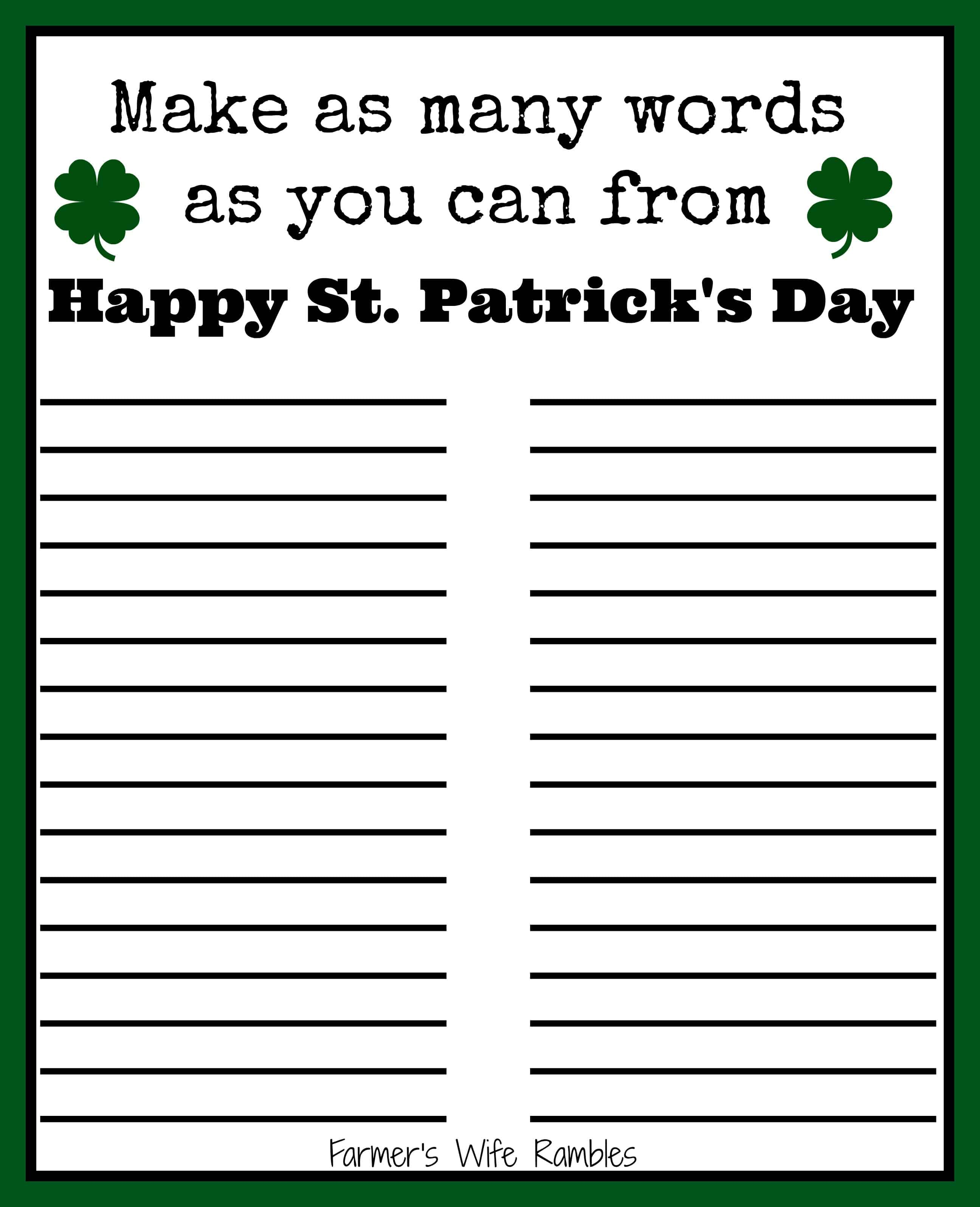 Free St Patrick S Day Word Puzzle Printable