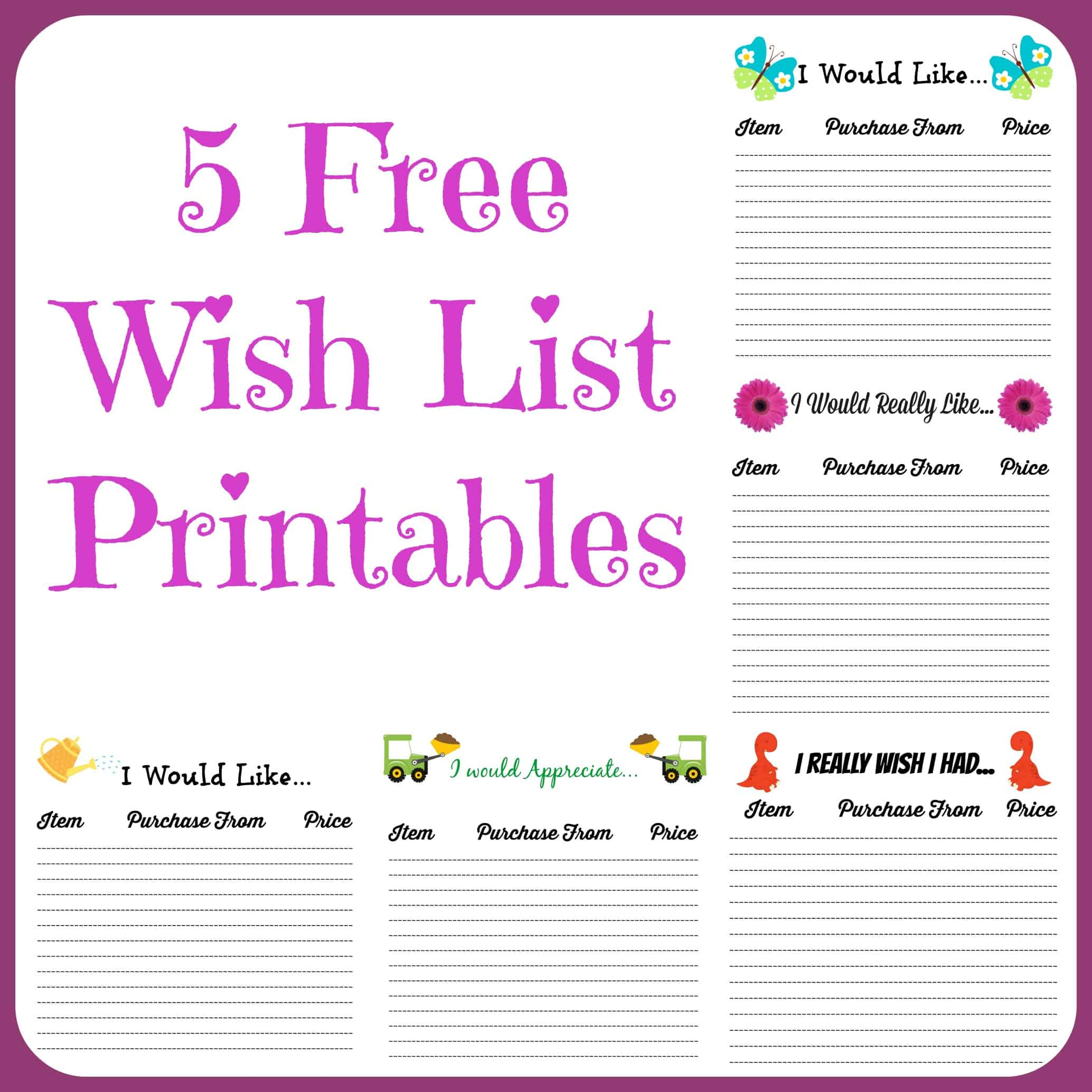 Free Wish List Printables 5 Designs To Pick From