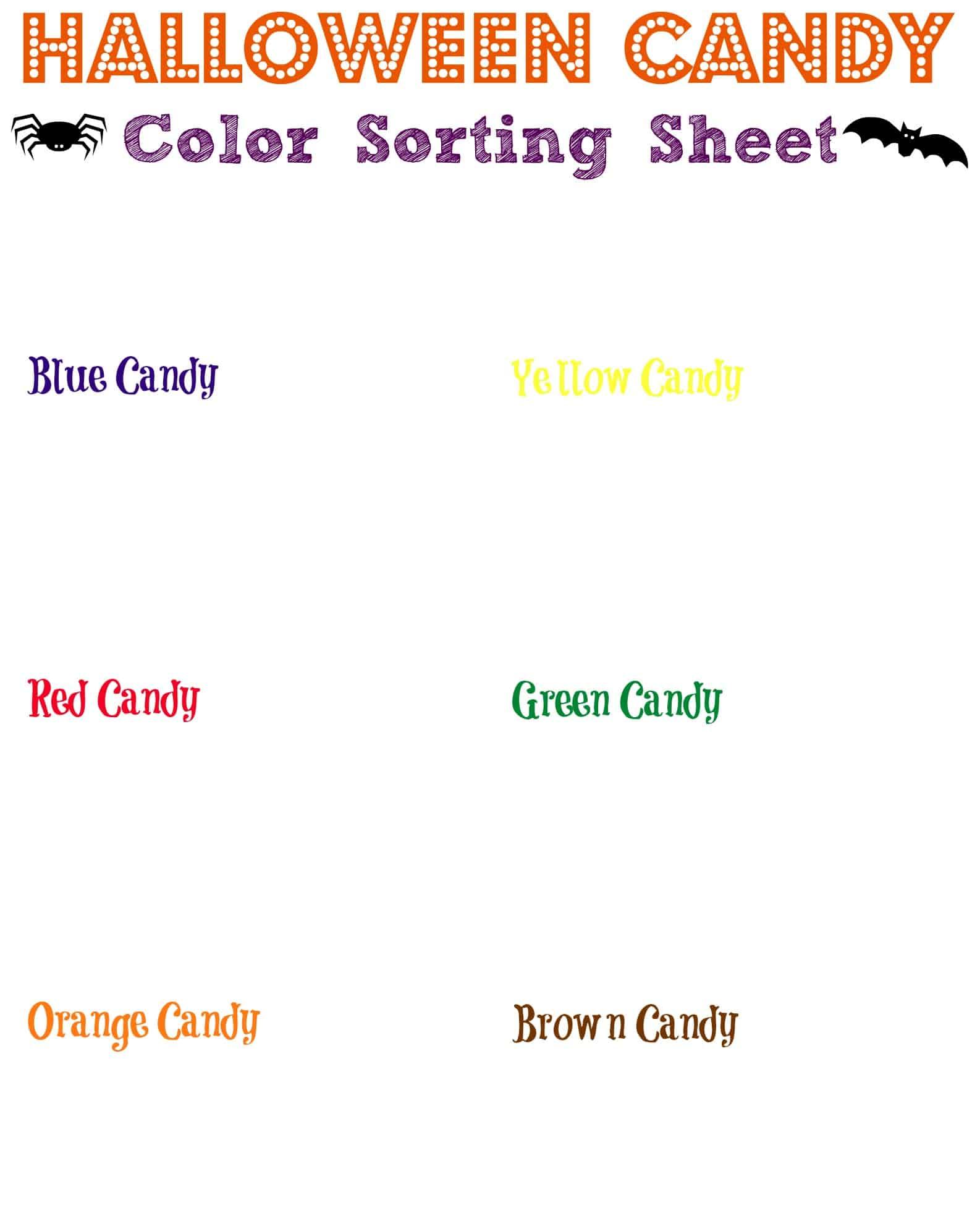 Free Candy Color Sorter Homeschool Printables