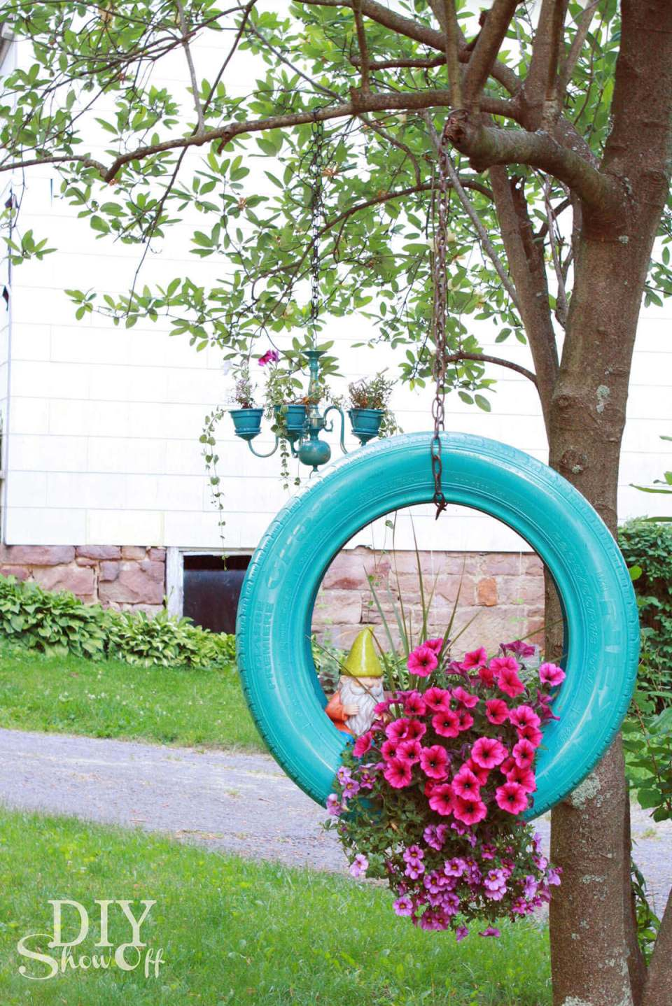 Upcycled Tire Hanging Flower Planter