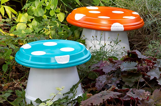 Garden Mushrooms Made with Terra Cotta Pots and Drain Trays