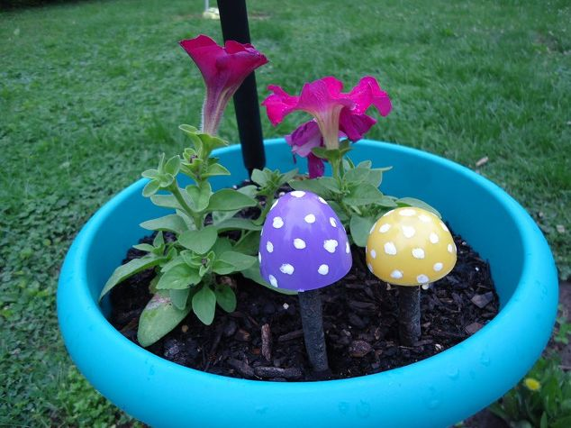 Mushroom Garden Decoration Made From Plastic Eggs