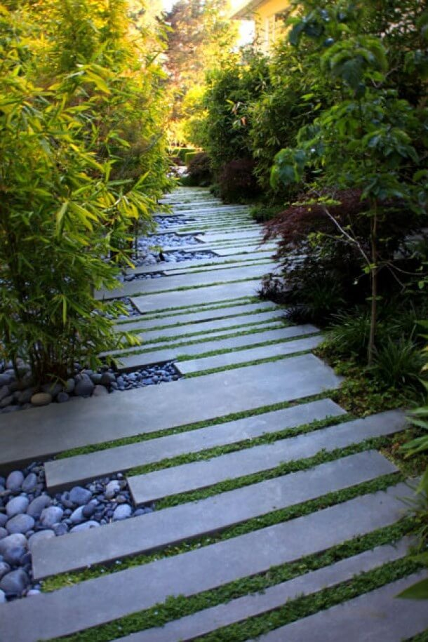 You Can Even Use Concrete Strips as Stepping Stones