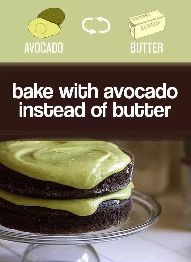 You can swap avocado for butter in cakes to make them (a little) healthier