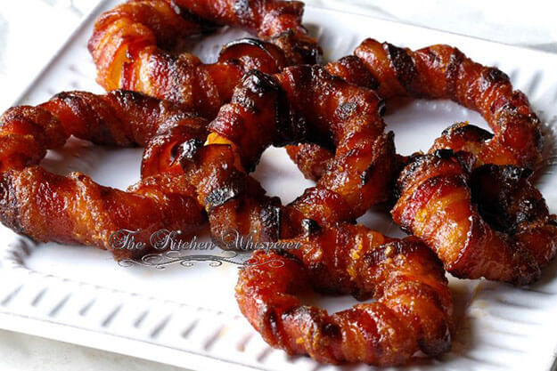 Candied Bacon Wrapped Onion Rings