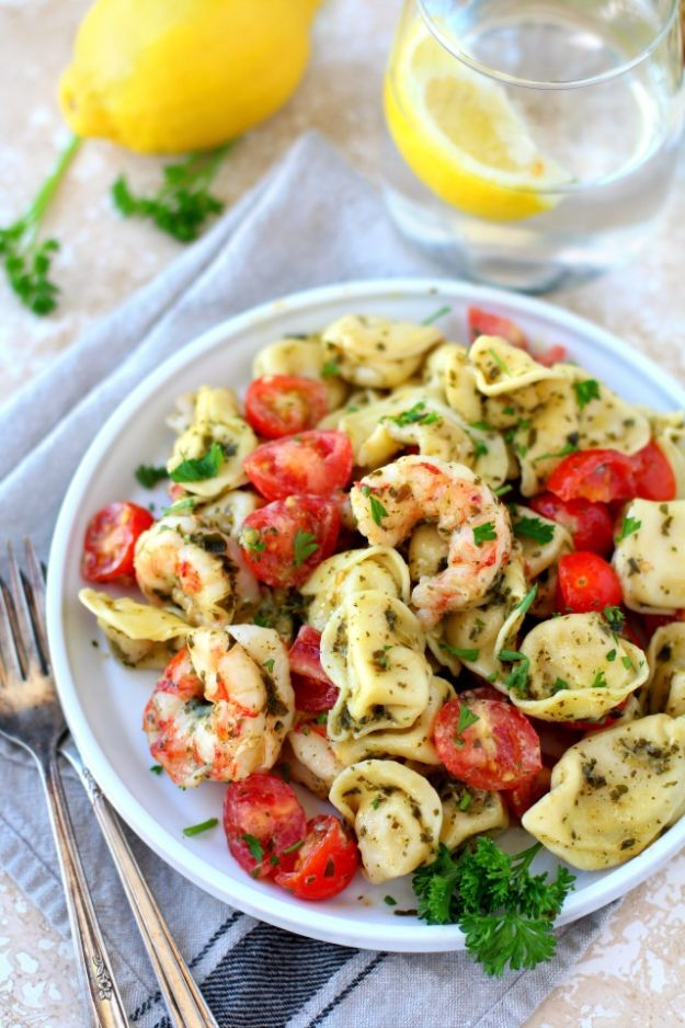 Easy Pesto Shrimp Tortellini Salad