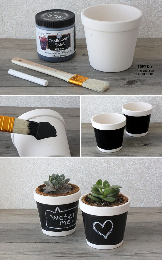 Help Your Succulents Talk with Chalkboard Paint & 71 Adorable DIY Flower Pot Ideas for Gardeners - Farm.Food.Family