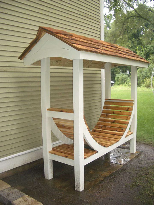 Rustic Natural Wood Firewood Rack that's Curved