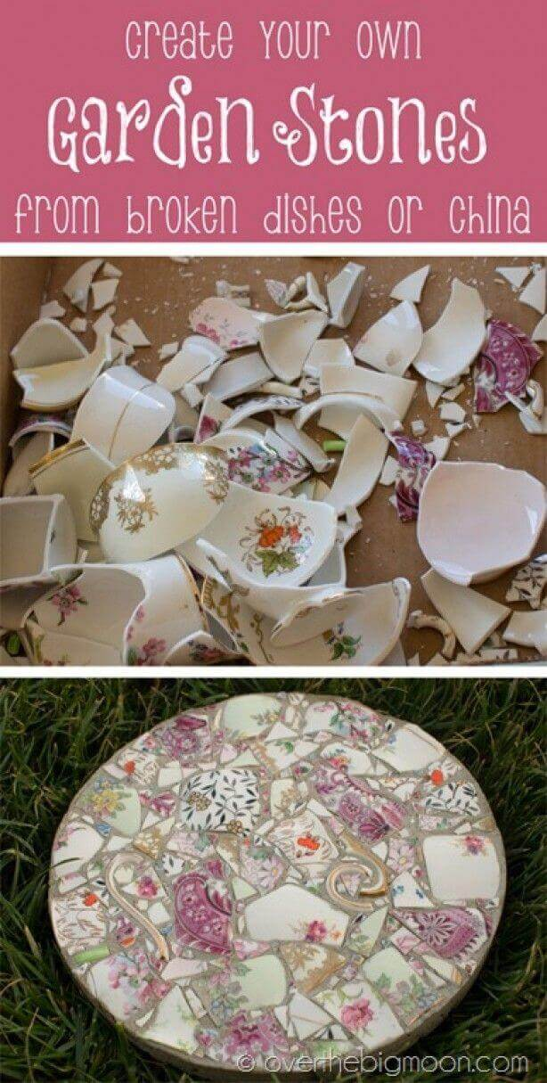 Make a Garden Stone with Broken China