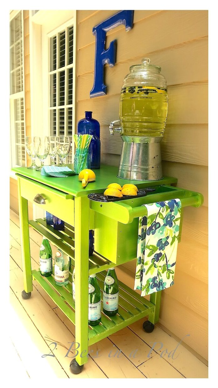 Lime Green Kitchen Cart for a Porch