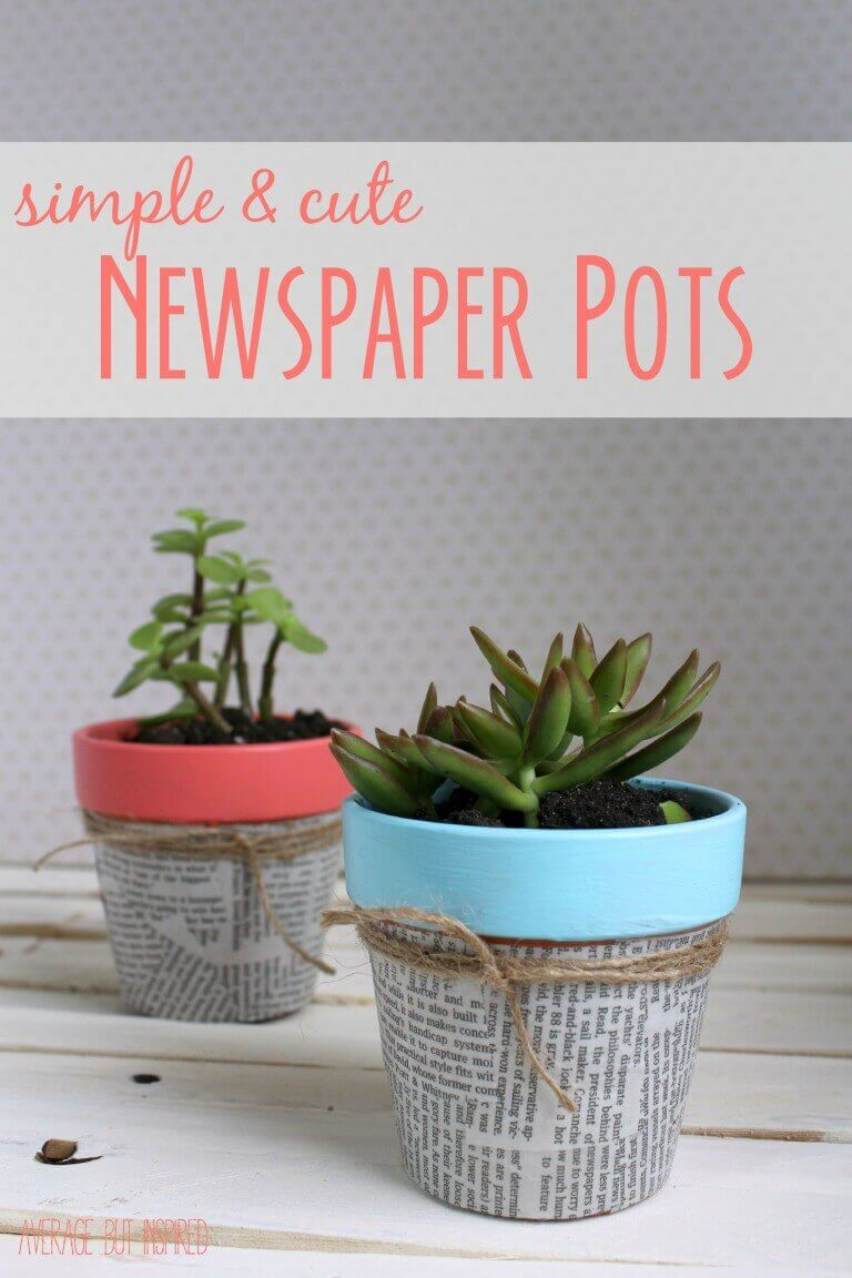 Pastel and Newsprint Succulent Pots