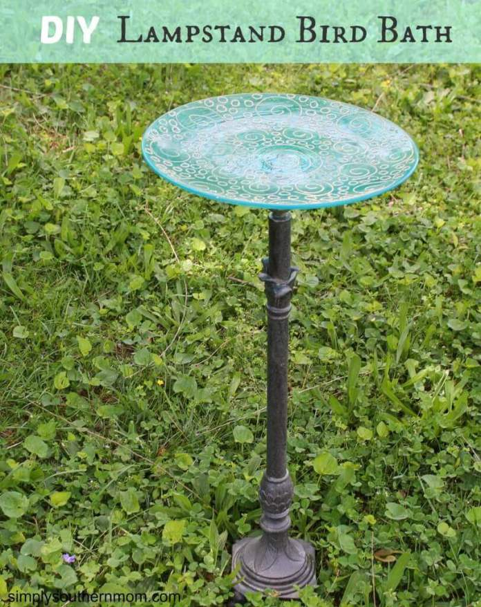 Repurposed Lamp Stand with Glass Dish
