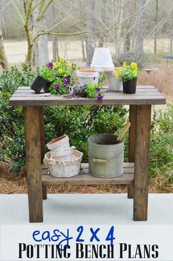 A Potting Bench Made Entirely of 2x4s