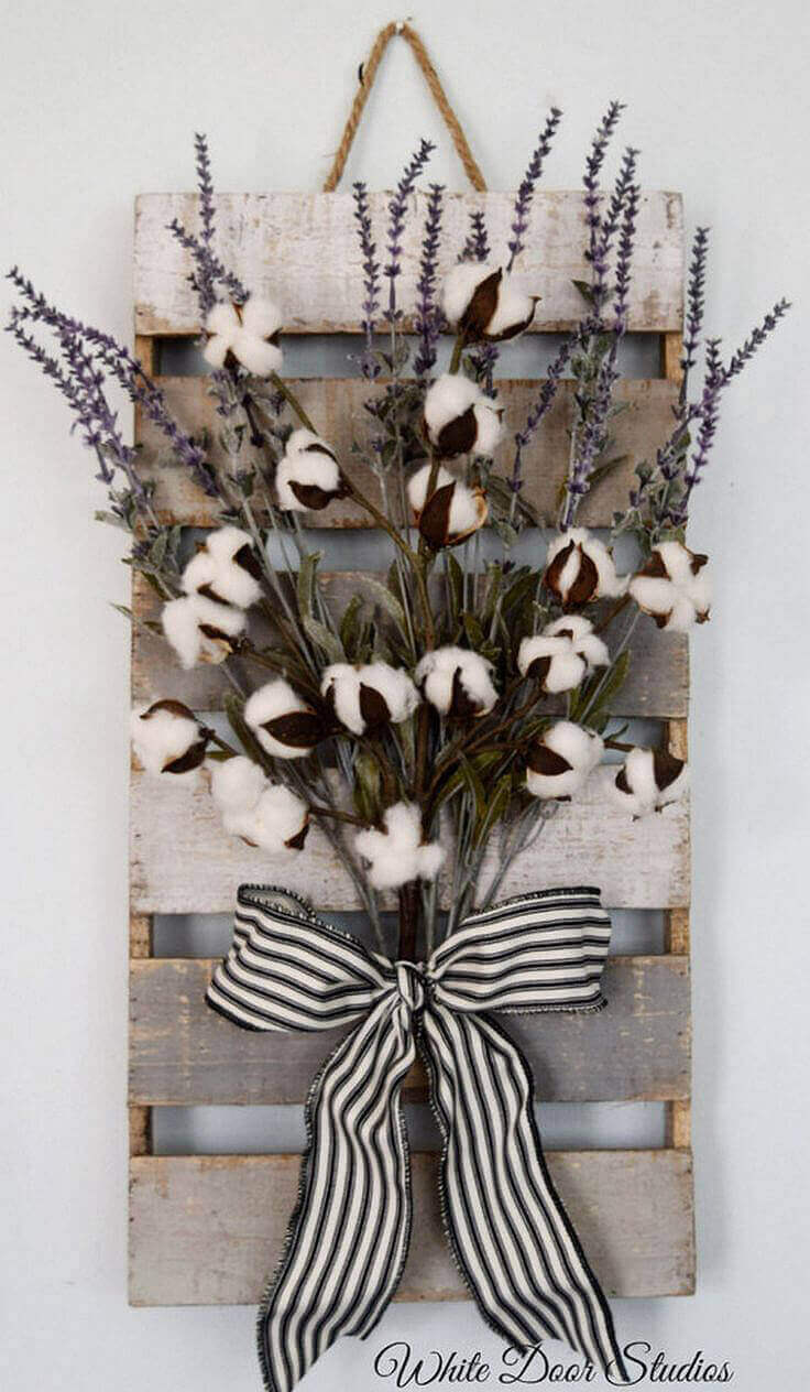 Raw Cotton, Lavender and Gingham Bouquet