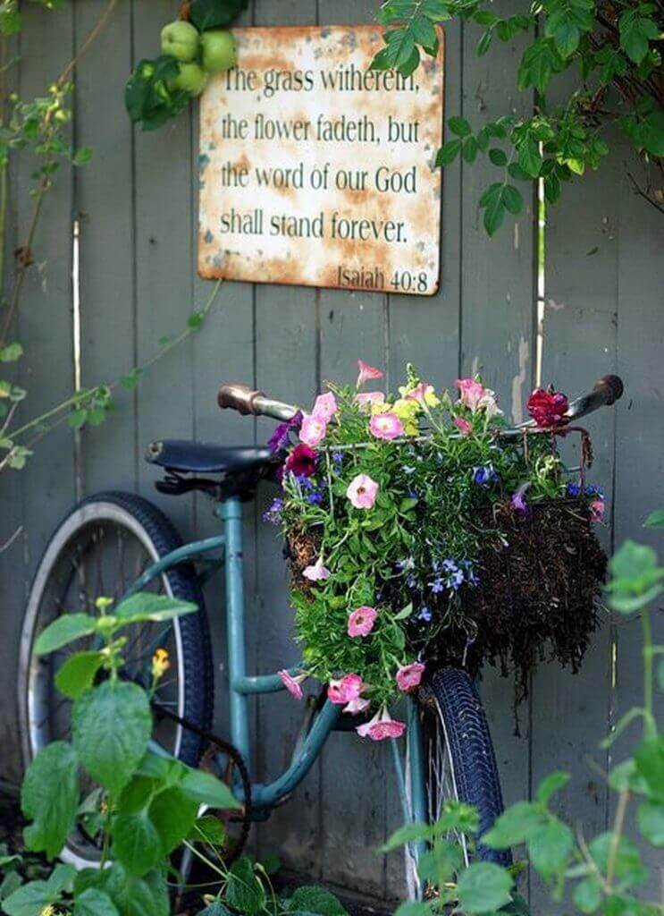 Recycled Bike with Flowers in the Basket