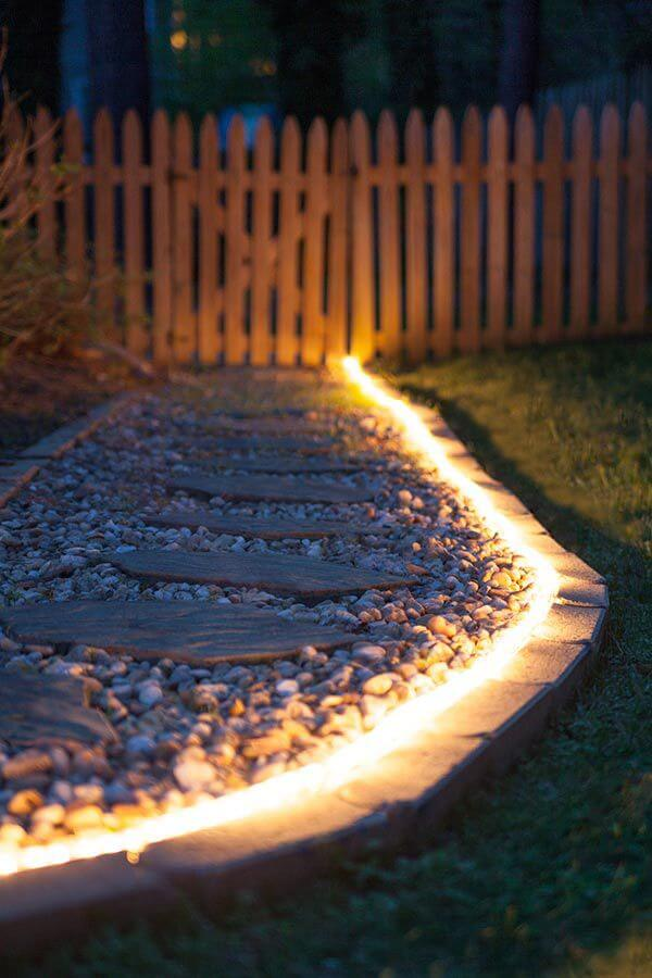 Use Rope Lights to Illuminate Your Garden Paths