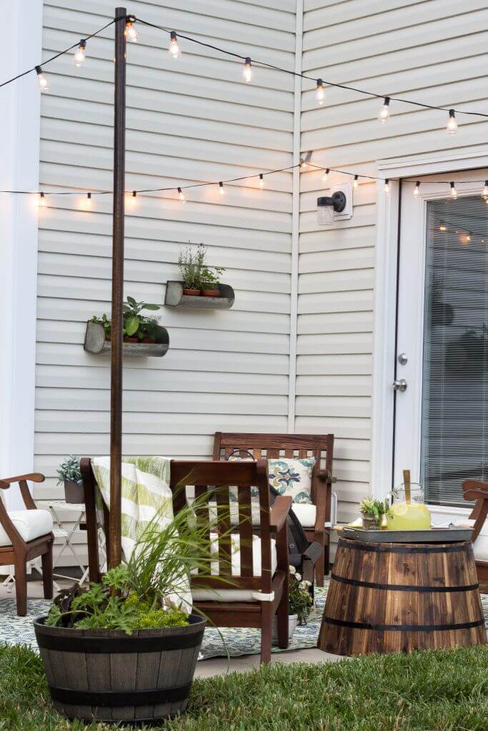 Hang String Lights without a Pergola
