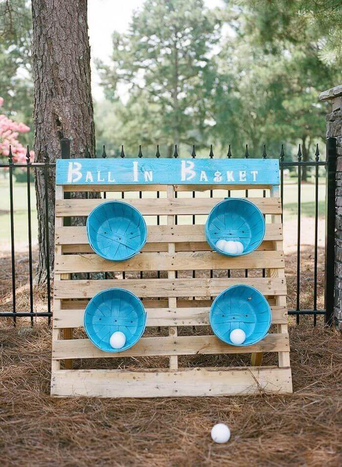 Pallet and Bushel BasketBall Toss Game