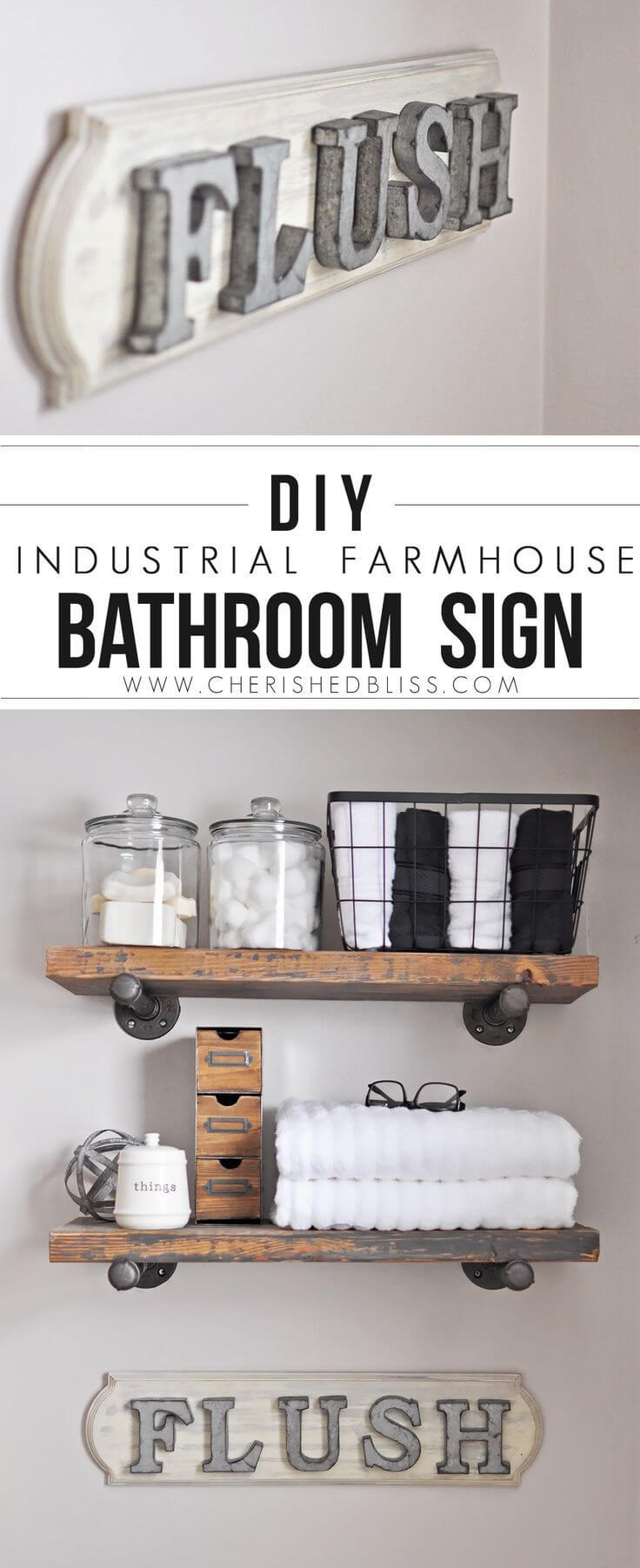 "DIY Farmhouse Bathroom ""Flush"" Sign"