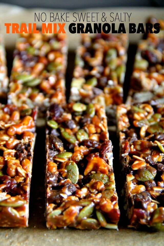 No-bake sweet and salty trail mix granola bars