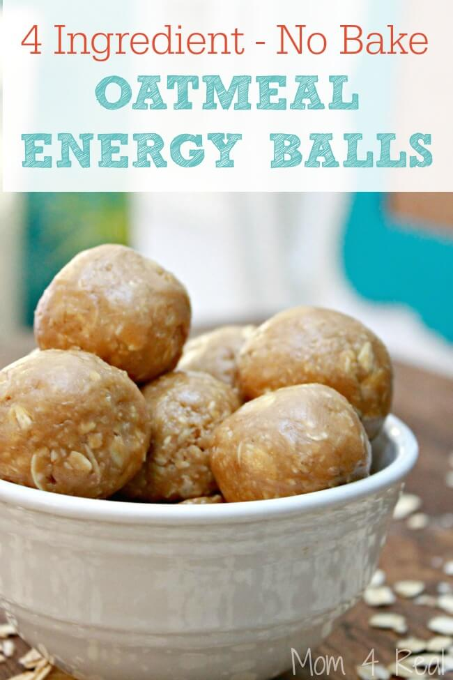 4 Ingredient No Bake Peanut Butter Oatmeal Balls