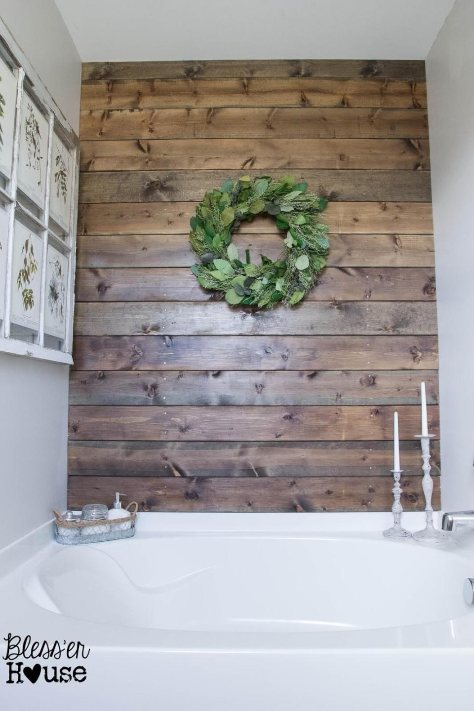 Rustic Wood Bathroom Accent Wall