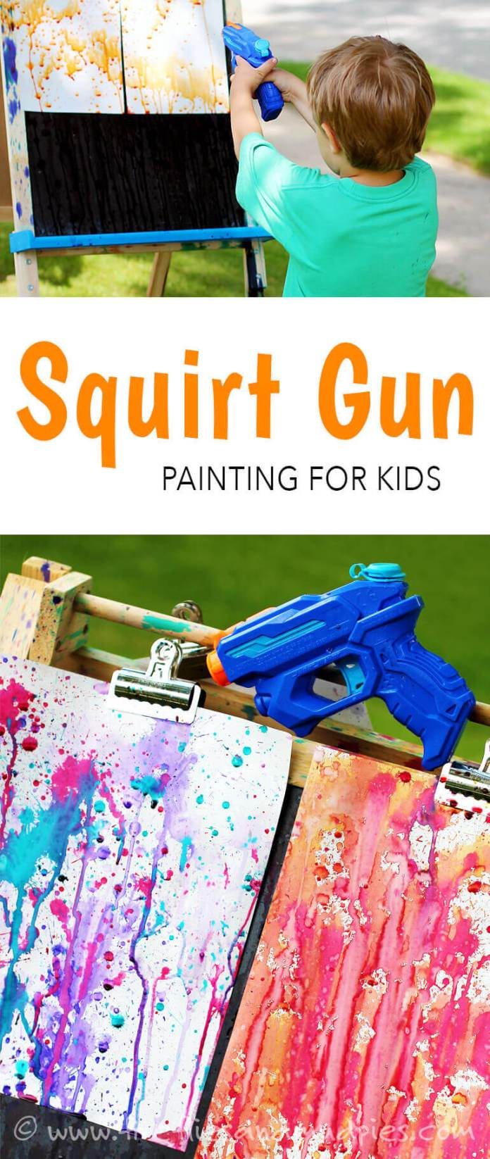 Outdoor Squirt Gun Painting for Kids
