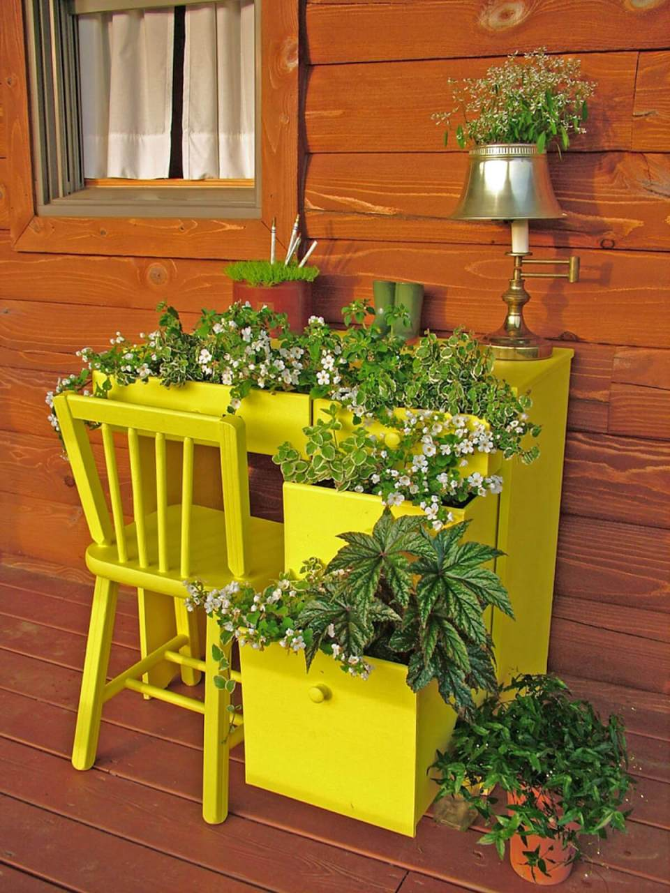 Upcycled Desk Garden Container for Your Porch