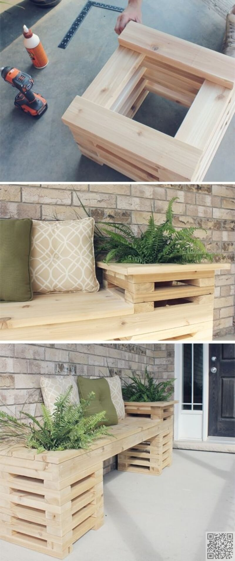Wooden Plant Boxes with Built-in Bench