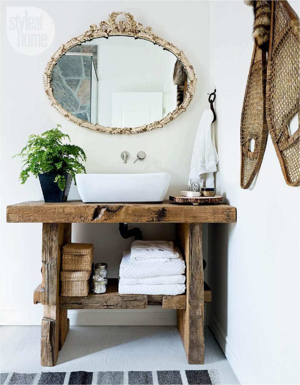 Rustic Rough Wood with Bowl Sink