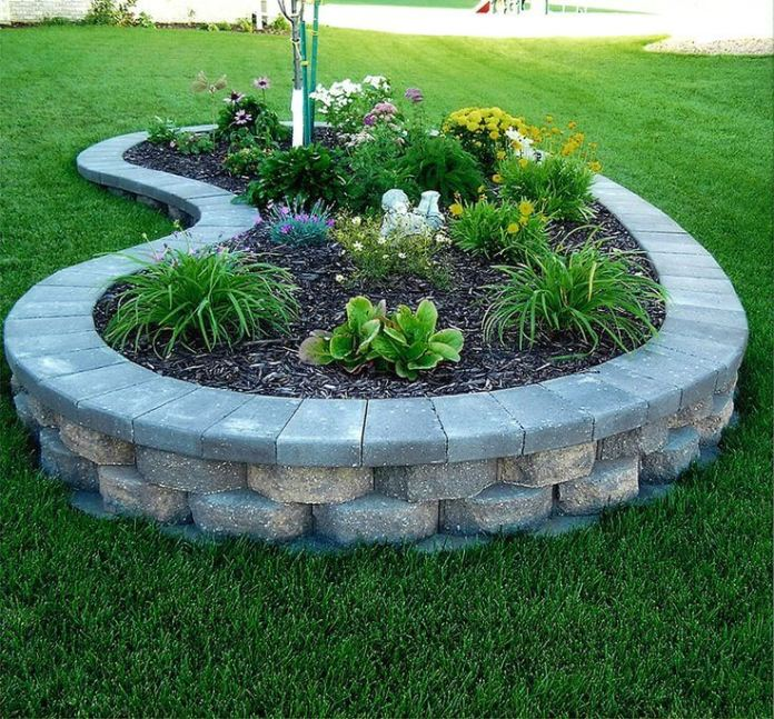 Flower Bed Ideas: Raised Block Flower and Plant Bed