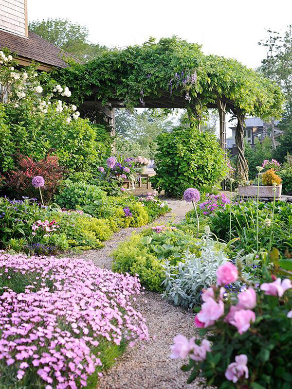 Flower Bed Ideas: Lush, Magical Flower Garden with Pathway