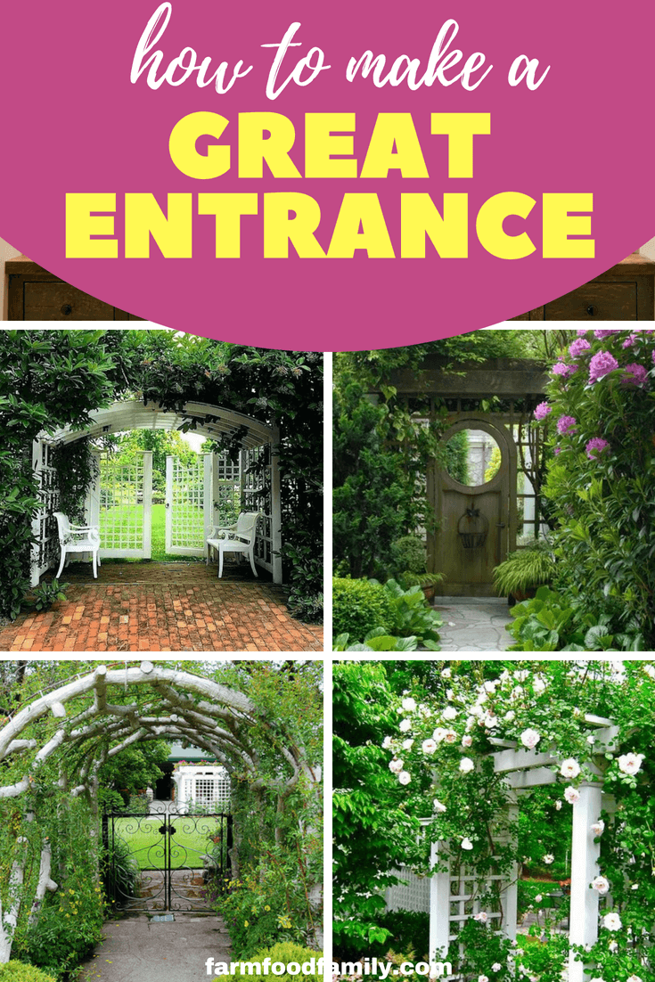 A garden entry can be far more than a way to connect spaces or point the way. An entry can also be a place to sit and relax. Pop in a garden bench seat, a table for two, or a cosy chair. #garden #gardeningtips #entrance #farmfoodfamily