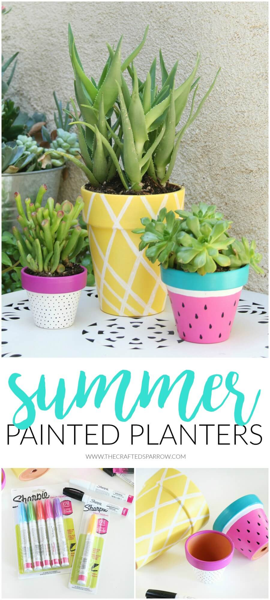 Painted Pots in Fruit and Pastels | DIY Painted Garden Decoration Ideas