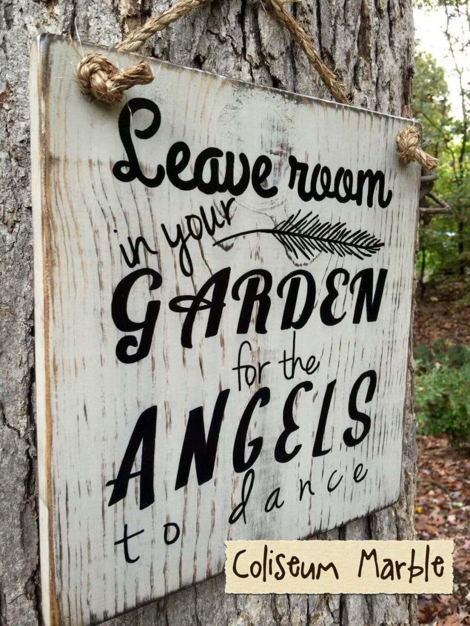 Inspirational Sign with Angelic Grace | Funny DIY Garden Sign Ideas