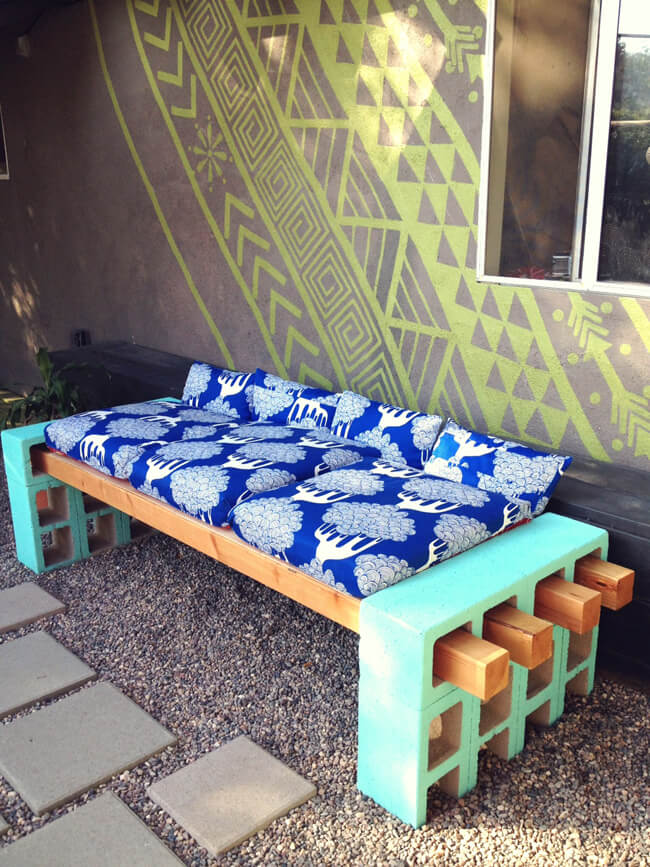 Outdoor DIY Bench Ideas: Pop of Color and Comfort Bench