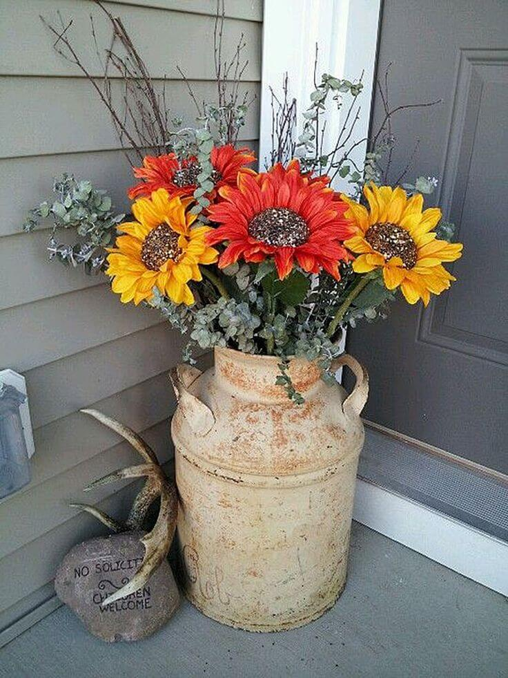Sunflowers in a Milk Can | Vintage Porch Decor Ideas