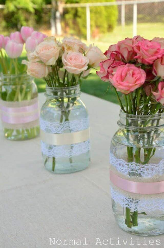Wide Lace and Ribbon Bands | Beautiful DIY Mason Jar Flower Arrangements Ideas