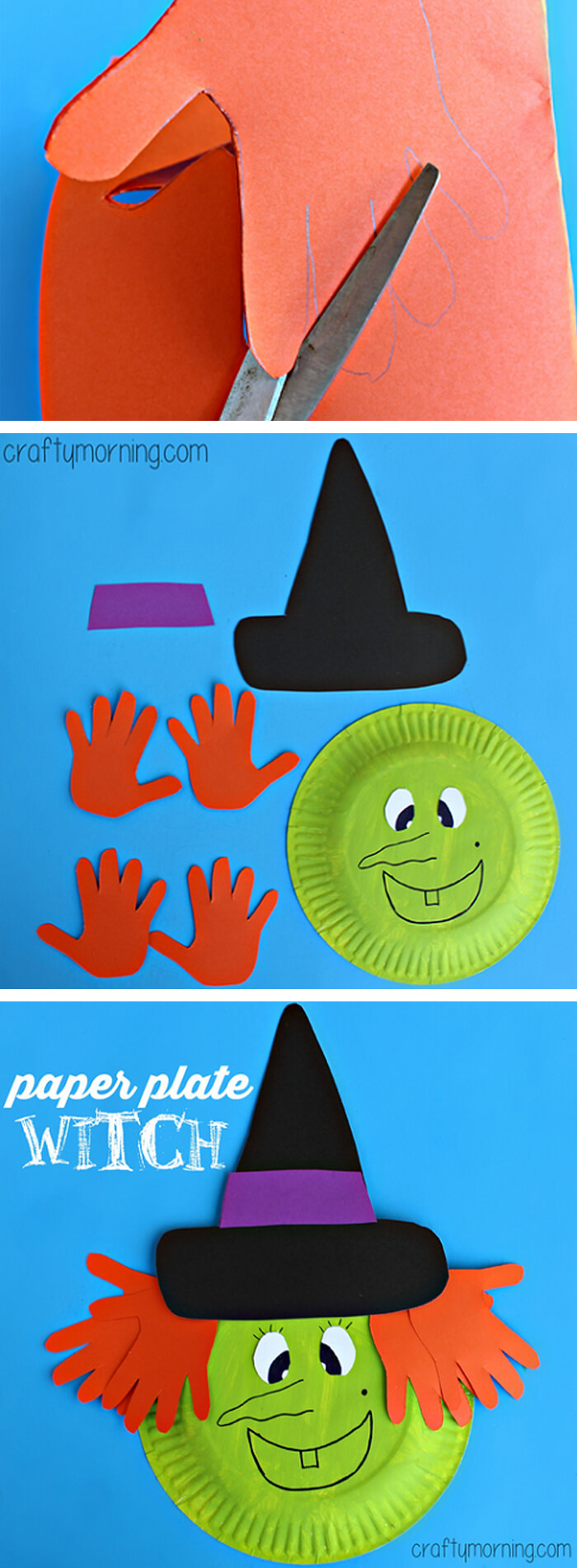 Hand Print Witch Paper Craft | Fun & Creative DIY Halloween Crafts for Kids