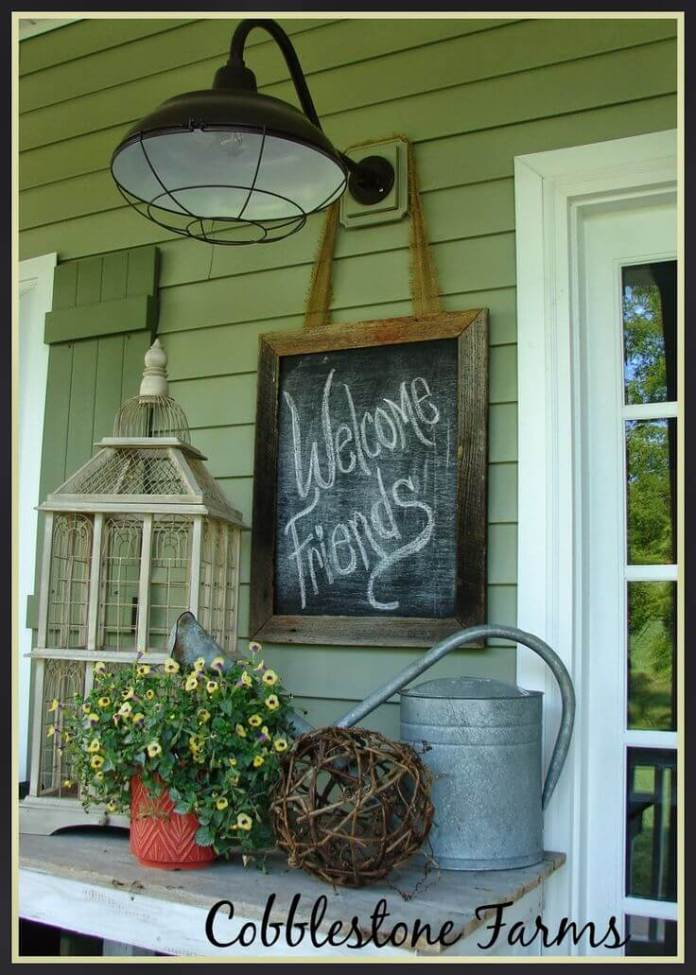 Welcome Friends with Industrial Lighting | Vintage Porch Decor Ideas