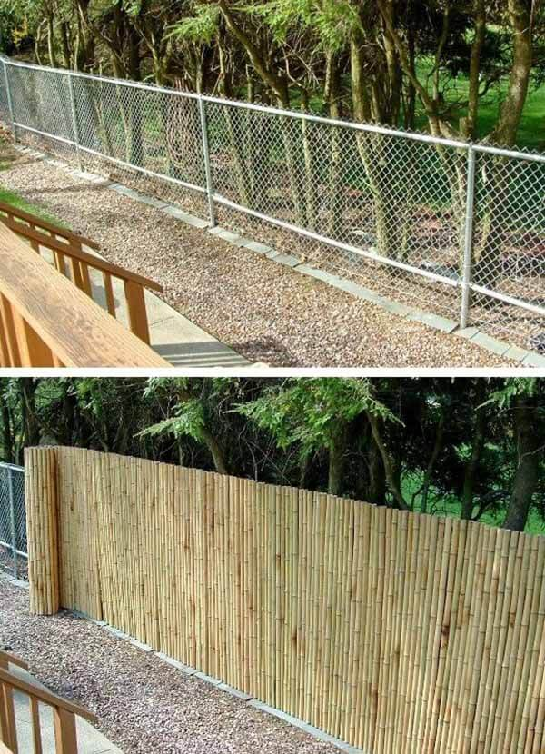 DIY Fence Ideas: Bamboo Camouflage Cover for Chainlink Fence