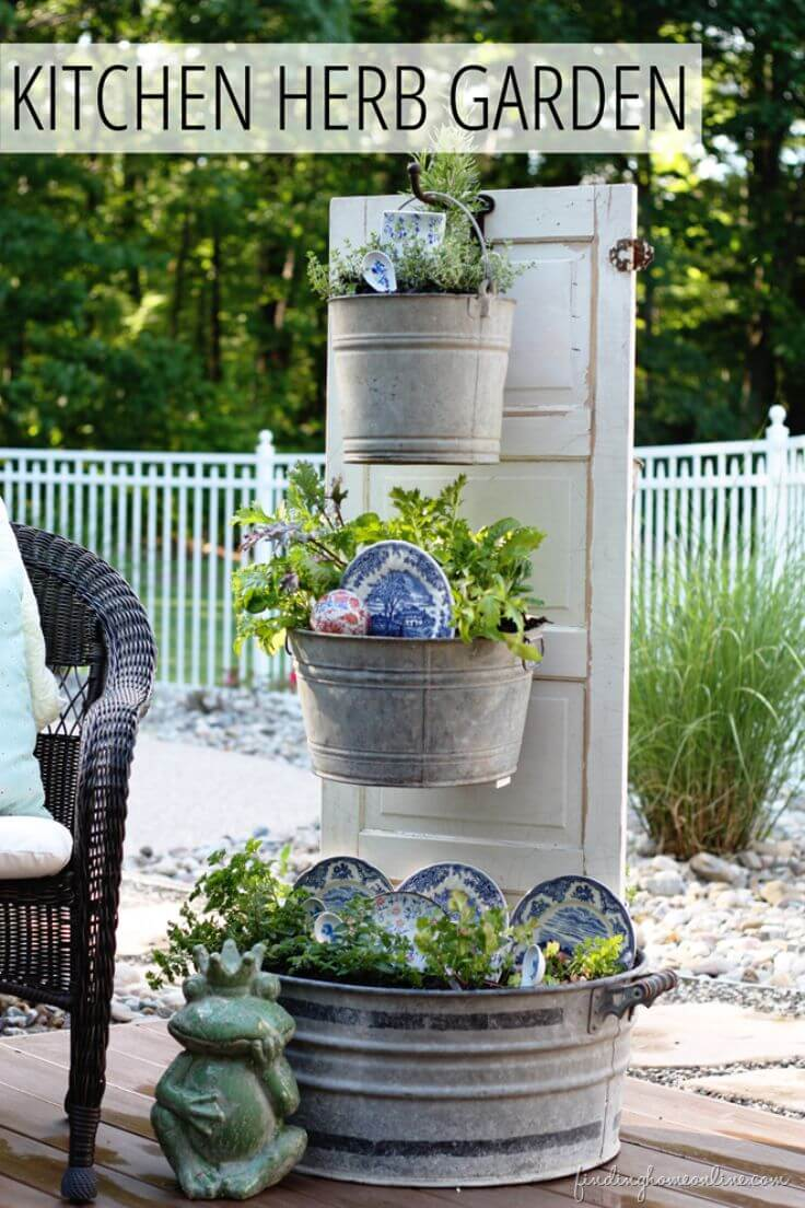 Kitchen Herb Garden with an Old Door | Creative Repurposed Old Door Ideas & Projects For Your Backyard