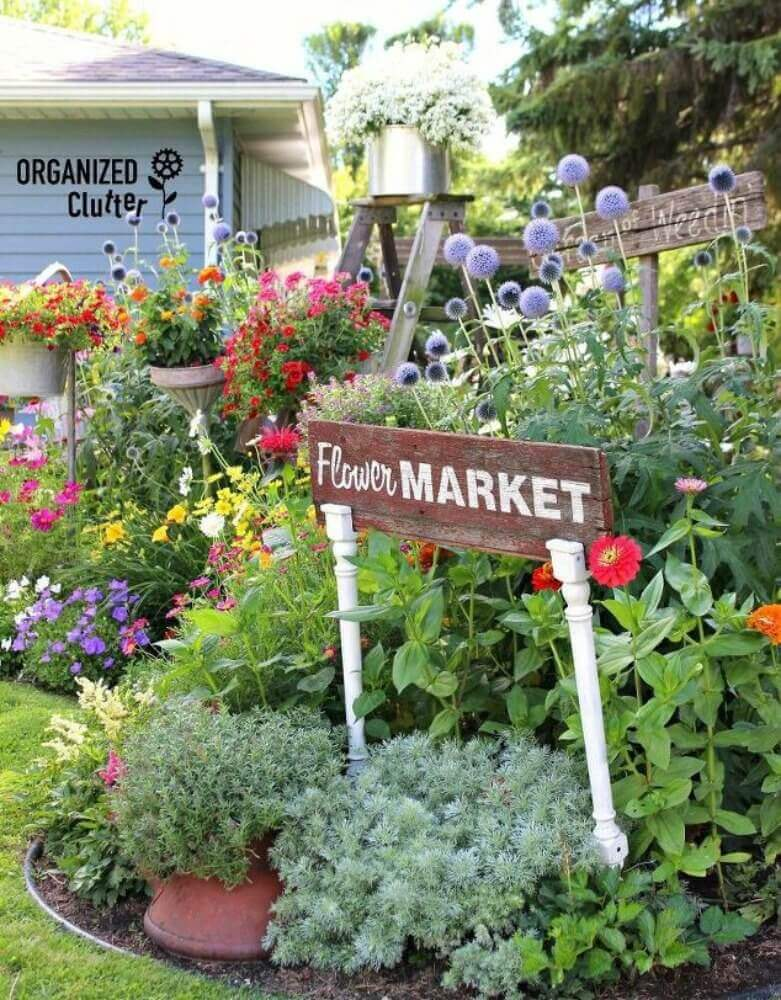 Flower Market Sign on Upcycled Table Legs   Funny DIY Garden Sign Ideas