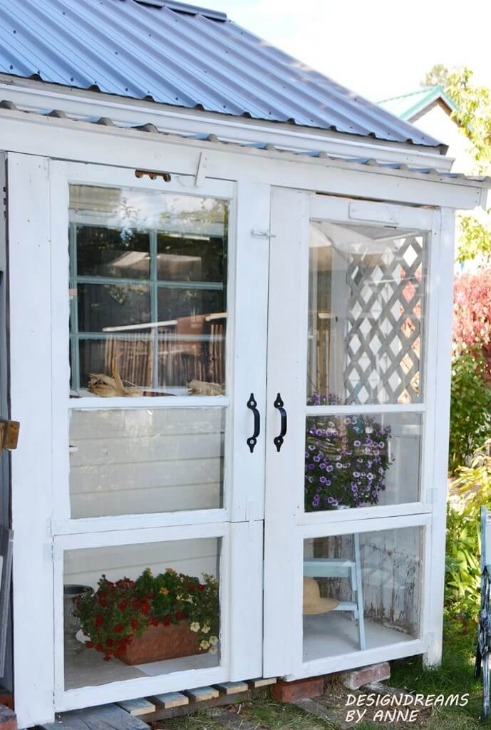 Full-Sized Windows Doors for Easy Sunlight Access | Build a beautiful outdoor greenhouse | Creative Greenhouse DIY plans