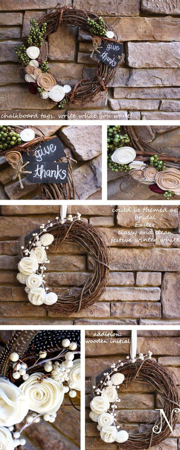 Pretty Posies on Intertwined Wreath