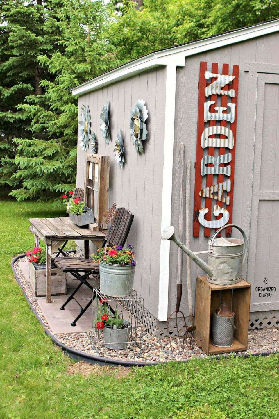 Bold Corrugated Letters on the Shed   Funny DIY Garden Sign Ideas